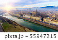 AERIAL. Panorama of the city of FLORENCE in Italy with the dome and Palazzo della Signoria and arno 55947215
