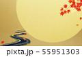 背景-和-和風-和柄-和紙-お月見-紅葉-川-秋 55951303