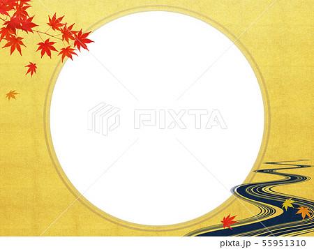 背景-和-和風-和柄-和紙-お月見-紅葉-川-秋 55951310