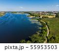 river Matyra in Gryazi city in Russia, aerial survey 55953503