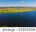 river Matyra in Gryazi city in Russia, aerial survey 55953508