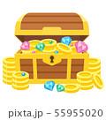 金貨(コイン)や宝石(ダイヤ)が入った宝箱のイラスト 55955020
