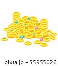 お金(コイン)や宝石などのお宝が山になったイラスト 55955026