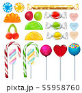 Different sweets and candies from sugar. Realistic vector pictures set 55958760