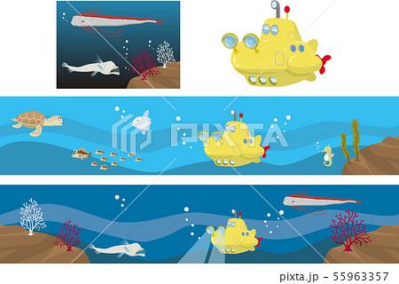潜水艦と海中セット 55963357