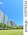 爽やかな青空のマンション街 55976234