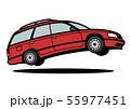 懐かしめ国産ワゴン 濃赤色 ジャンプ 自動車イラスト 55977451