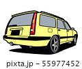 懐かしめワゴン リアビュー イエロー 自動車イラスト 55977452