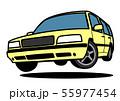 懐かしめワゴン ジャンプ イエロー 自動車イラスト 55977454