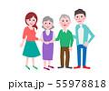家族 若い夫婦とシニア 55978818