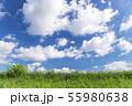 青空と雲と草原の背景素材 暑中見舞い テンプレート 55980638