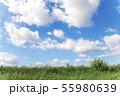 青空と雲と草原の背景素材 暑中見舞い テンプレート 55980639