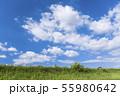 青空と雲と草原の背景素材 暑中見舞い テンプレート 55980642