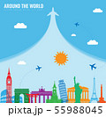 Travel composition with famous world landmarks. Travel and Tourism concept. Vector 55988045