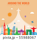 Travel composition with famous world landmarks. Travel and Tourism concept. Vector 55988067