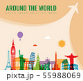Travel composition with famous world landmarks. Travel and Tourism concept. Vector 55988069