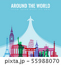Travel composition with famous world landmarks. Travel and Tourism concept. Vector 55988070