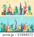 Travel composition with famous world landmarks. Travel and Tourism concept. Vector 55988072