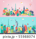 Travel composition with famous world landmarks. Travel and Tourism concept. Vector 55988074