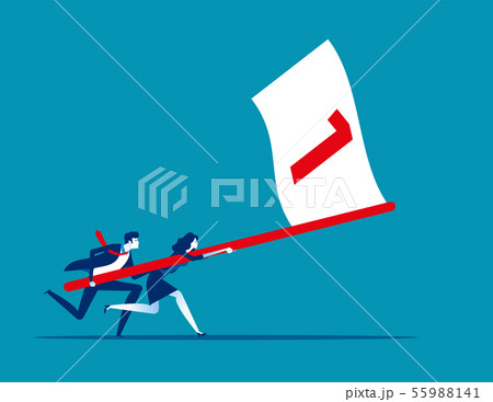 Business team holding flag number one and running 55988141