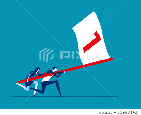 Business team holding flag number one and running 55988142