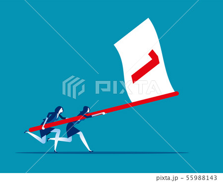 Business team holding flag number one and running 55988143