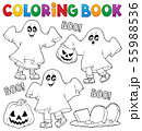 Coloring book kids in ghost costumes 1 55988536
