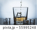Whisky, whiskey or bourbon with ice 55995248