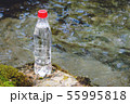 A plastic bottle with a red cap with fresh drinking water against a background of green forest and a 55995818