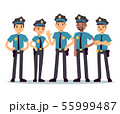 Group of police officers. Woman and man cops vector characters 55999487