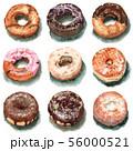 水彩で描いたドーナツ9種類 56000521
