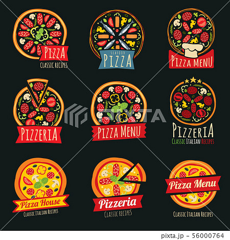 Pizza color labels isolated. Italian restaurant vector badges and emblems 56000764
