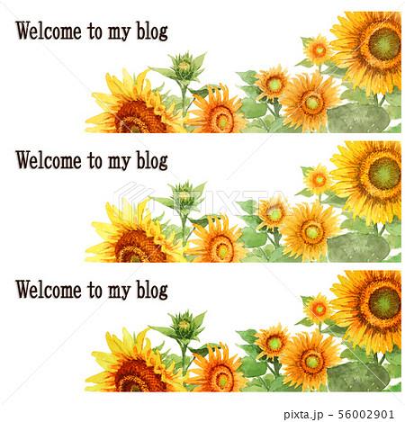 ブログ用ヘッダ画像ひまわり3種類セット 56002901