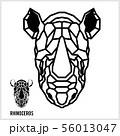 Abstract linear polygonal head of a rhino. Vector. 56013047