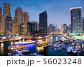 Dubai marina with boats and buildings with gates 56023248