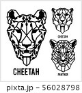 Cheetah and panter - animal heads icons. Vector geometric illustrations of wild life animals. 56028798