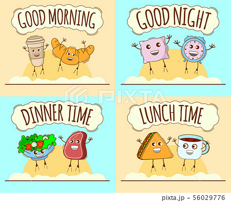 Set of Day Icon. Good Morning, Good Night, Dinner 56029776