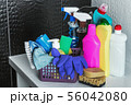 different products and items for cleaning on the floor in the toilet room 56042080