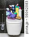different products and items for cleaning on the floor in the toilet room 56042083