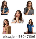 Young girl with various emotions and outfit 56047606