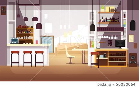 Modern empty bar or coffee shop vector flat interior 56050064