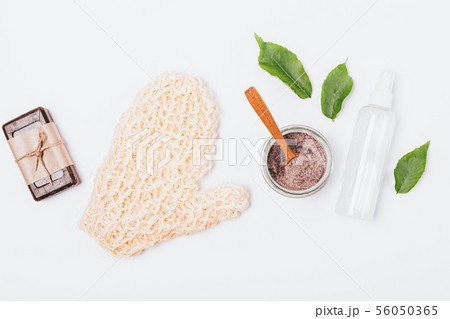 Flat lay bath background of natural cosmetics 56050365