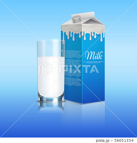 Milk pack realistic with glass cup on blue background. Vector template 56051354