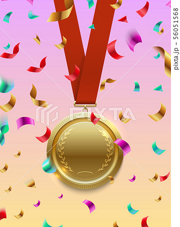 Winner concept vector - gold medal on red ribbon and confetti 56051568
