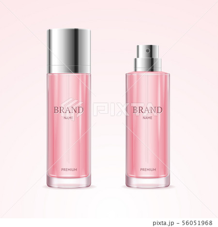 Realistic Detailed 3d Blank Perfume Bottle Pink Template Mockup Set. Vector 56051968