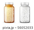 Glass bottles with pills realistic vector mock-up 56052033