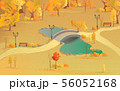 Autumn landscape path in the forest with a bridge over the pond. Beautiful scenery with golden 56052168