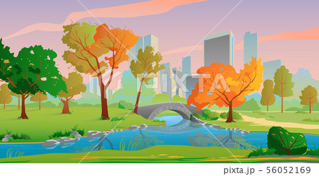 Autumn city landscape with river and yellow trees, beautiful sunset colors. 56052169