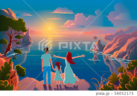 Family stand on the edge of a cliff with a beautiful view of nature and admire the sunset and the 56052173