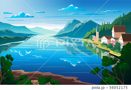 Nature landscape, mountains and river View point 56052175